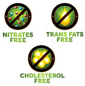 Vivid diet icon set, food intolerance such as Nitrates free, tra — Stock Vector
