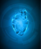 Abstact heart mechanism, beautiful deep blue color — Stockvector