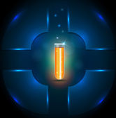 Test tube with orange liquid, template design, add your text if  — Vetorial Stock