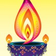 Stock Vector: Diwali Candle Light