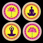 Yoga lotus posture — Stock Vector