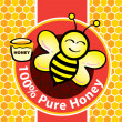 Pure Honey and Bee — Stock Vector
