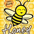 Stock Vector: Pure Honey and Bee