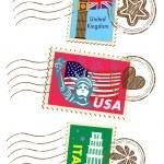 Landmarks stamps set — Stock Vector