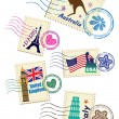 Landmarks stamps set — Vector de stock