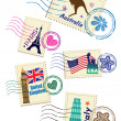 Stock Vector: Landmarks stamps set