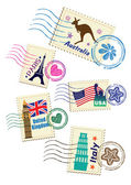 Landmarks stamps set — Stock Vector