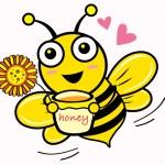 Honey & Bee — Stock Vector