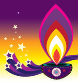 Diwali candle light — Stock Vector