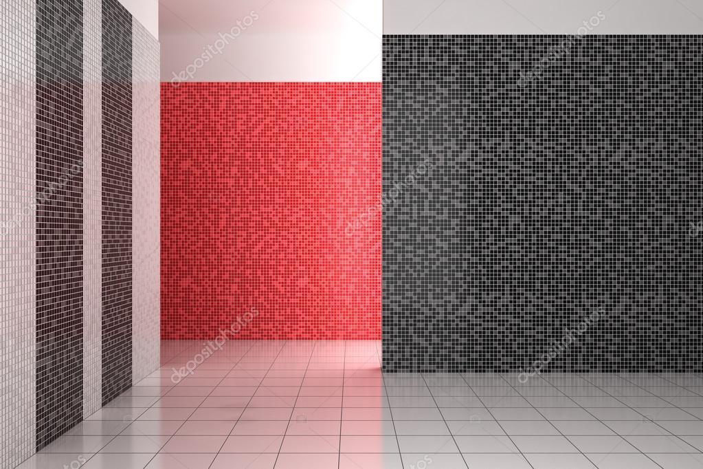 Vuoto moderno bagno con piastrelle a mosaico nei colori - Bagno mosaico rosso ...