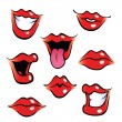 Cartoon female mouths with glossy lips — Stock Vector #18187385