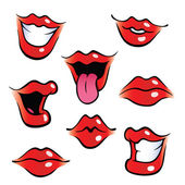 Cartoon female mouths with glossy lips — Stock Vector