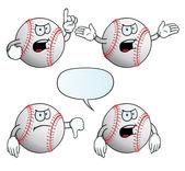 Angry baseball set — Stock Vector