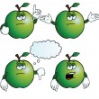 Stock Vector: Bored apple set
