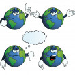 Bored Earth globe set — Stock Vector