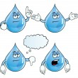 Stock Vector: Bored water drop set