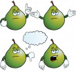 Stock Vector: Bored pear set