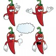 Stock Vector: Bored chili pepper set