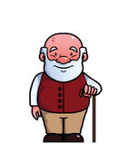 Old man holding a cane — Stock Vector