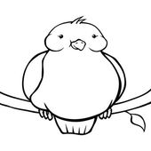 Black and white fat cartoon bird — Stock Vector