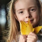 Happy children in autumn park — Stock Photo