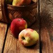 Stock Photo: Apples on wood deck