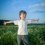 Happy boy on green field — Stock Photo #38845011