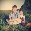 Two brothers outdoors happy play — Stock Photo