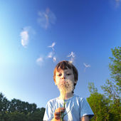 Beauty boy with dandelion — Stock Photo