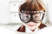 Goggles boy dreams of becoming a pilot — Stock Photo