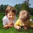 Two boys with magnifying glass outdoors — Stock Photo #45566207