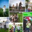 Three happy brothers summer time collage — Stock Photo #46323473
