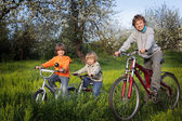 Brothers ride on bikes — Stock Photo