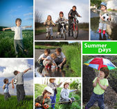 Three happy brothers summer time collage — Stock Photo