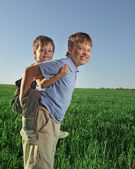 Two boy happy play outdoors — Stock Photo