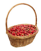 Basket of strawberries isolate on white — Stock Photo