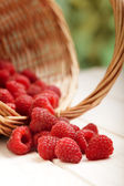 Strawberries in a basket on the table in the garden — Stock Photo