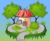 Background cartoon house — Stock Vector