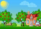 Achtergrond cartoon huis — Stockvector