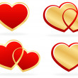Set of stylized hearts — Stock Vector