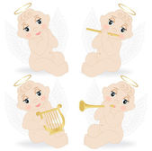 Set of small angels — Stock Vector