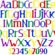 Stock Vector: Merry multicolored alphabet