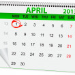 Icon calendar for April 1 - 图库矢量图片