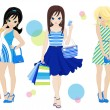 Shopping girls — Stock Vector #25236775