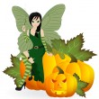 Fairy on a pumpkin — Stok Vektör