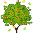 Stock Vector: Mandarin tree