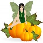 Fairy on a pumpkin — Stock Vector
