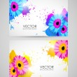 Colorful banners with flowers — Stock Vector