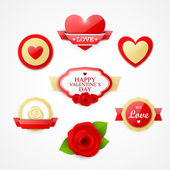 Bright Valentines day labels — Vettoriale Stock