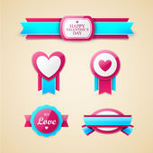 Bright Valentines day labels — Stockvektor